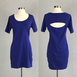 Forever 21 NWT Blue open back bodycon Dress Large
